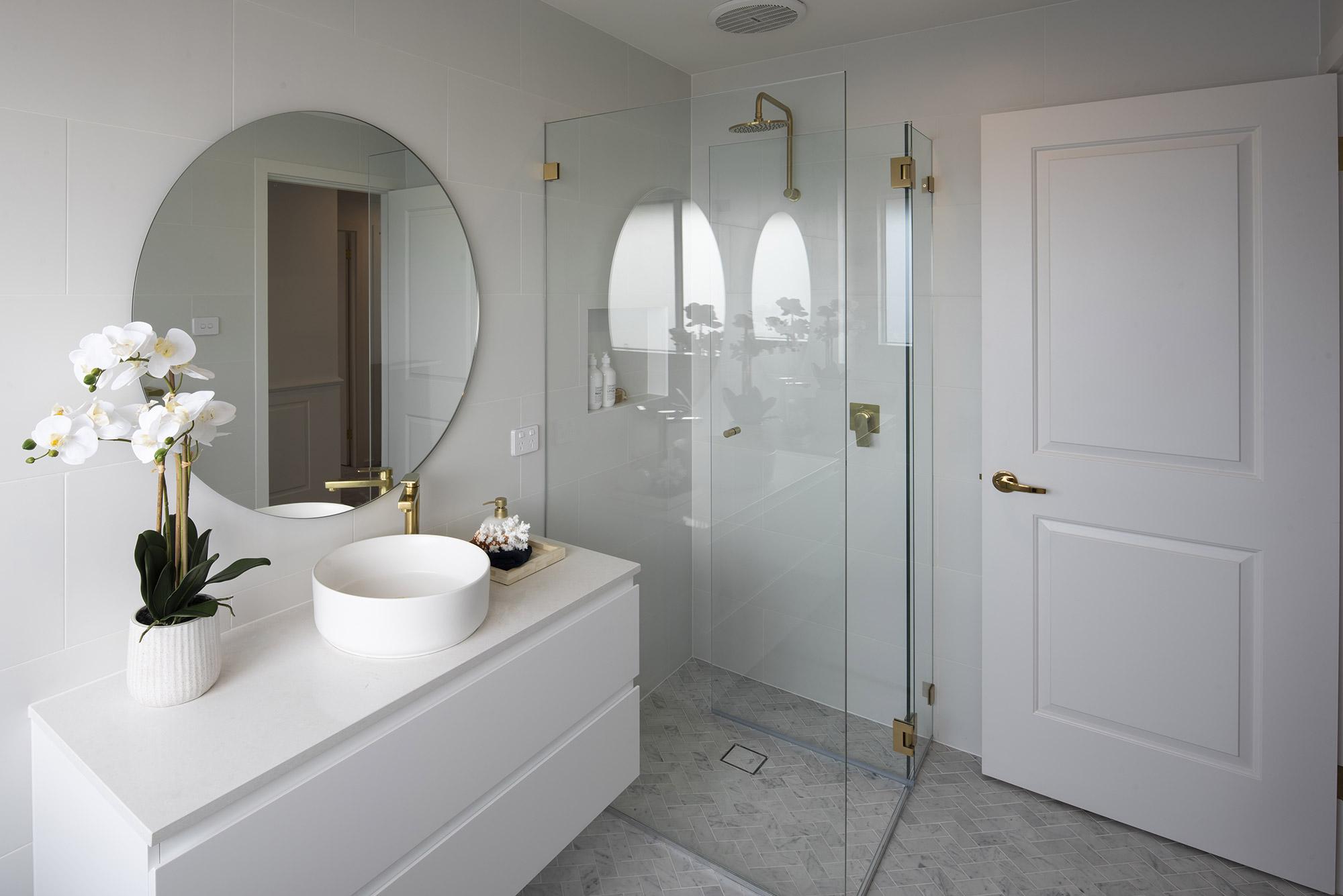 small bathroom with floating basins