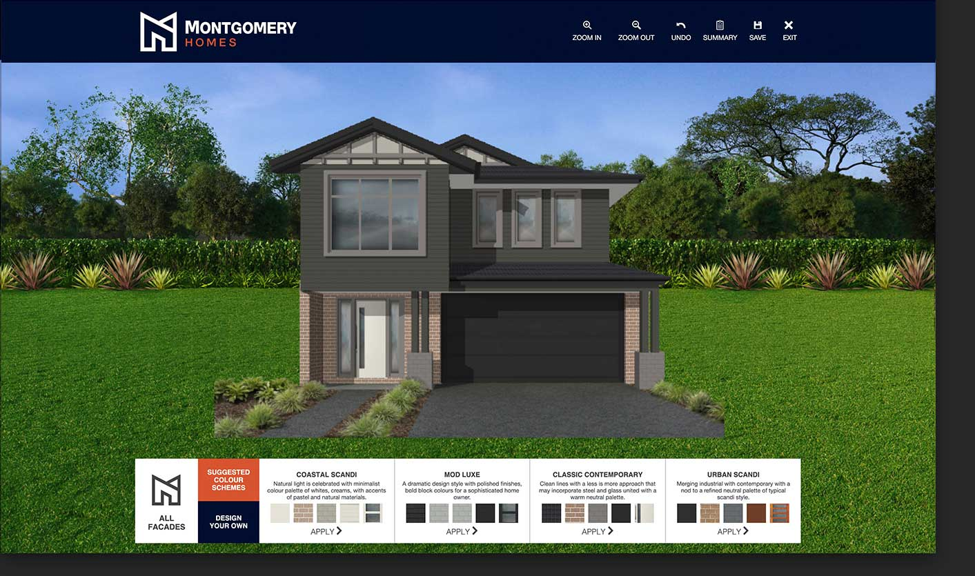 Display home visualiser choosing colour schemes