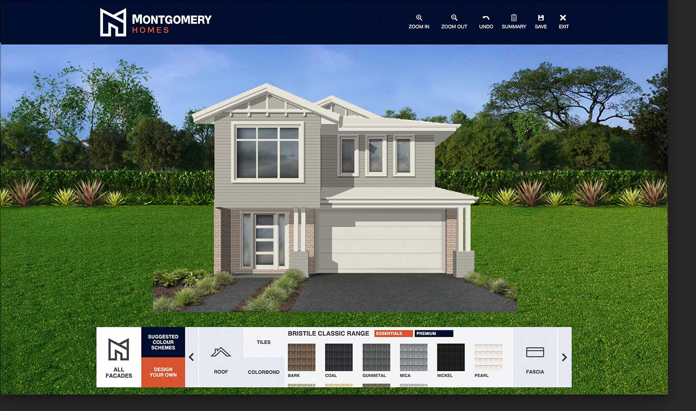 Display home visualiser choosing roof tiles