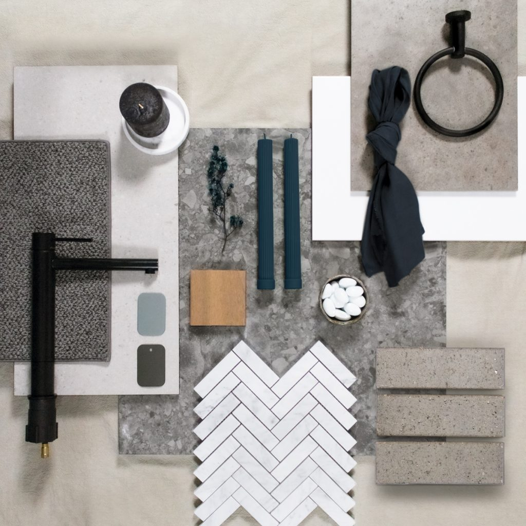Boutique hotel themed interior design flat lay