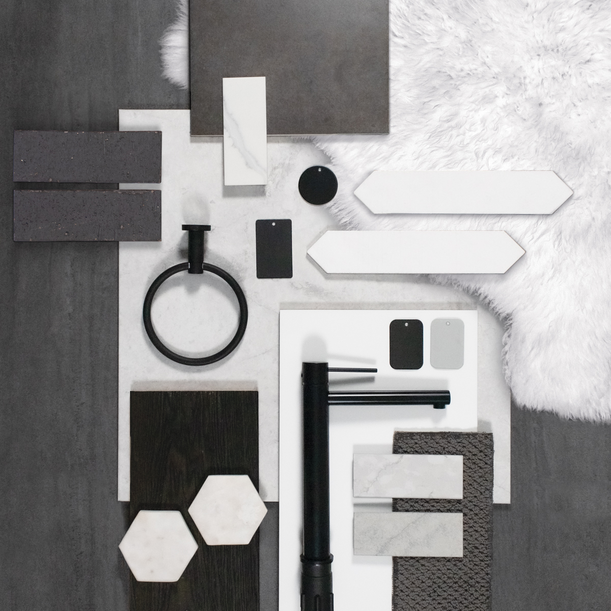 Modernist expression interior design flat lay