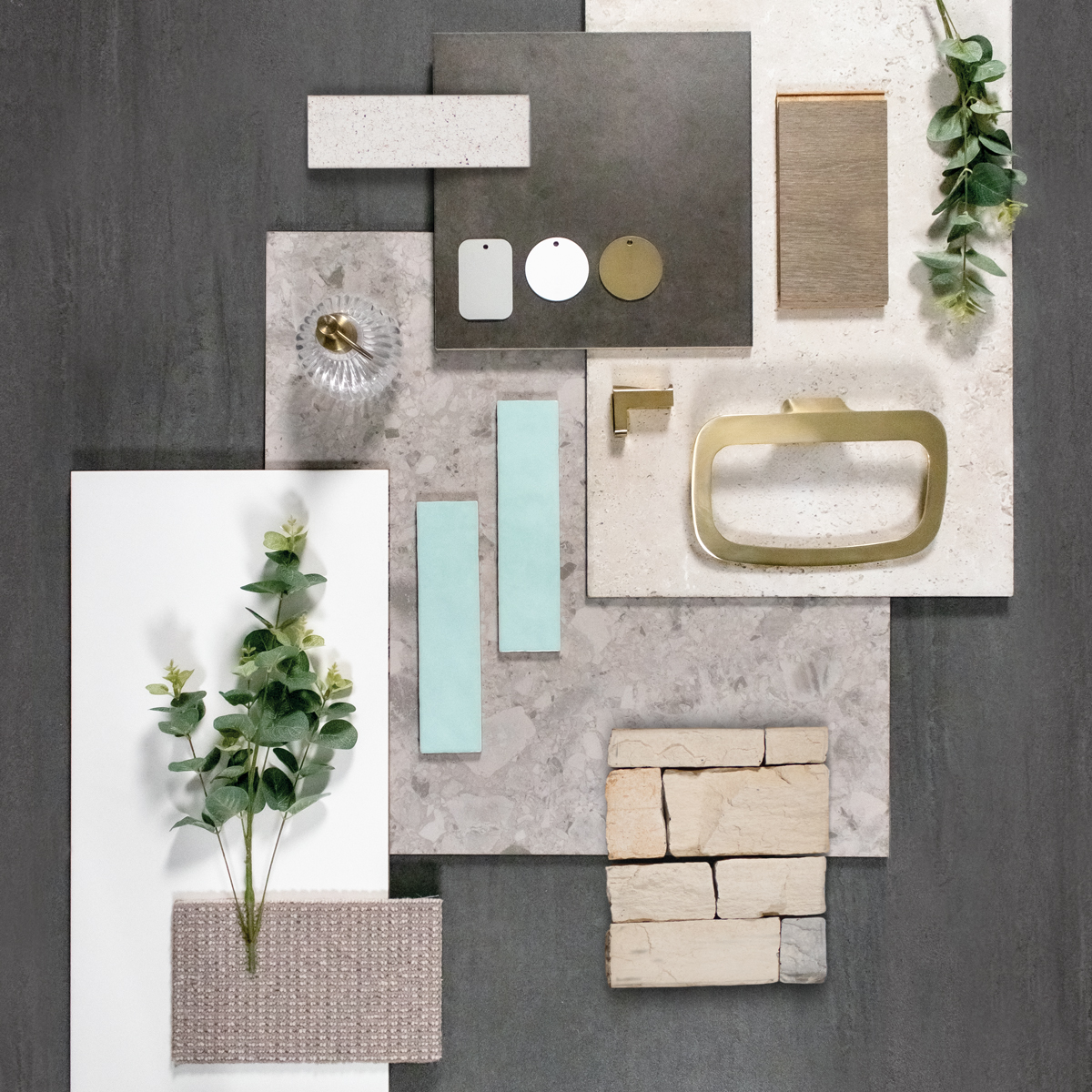 Palm springs interior design flat lay