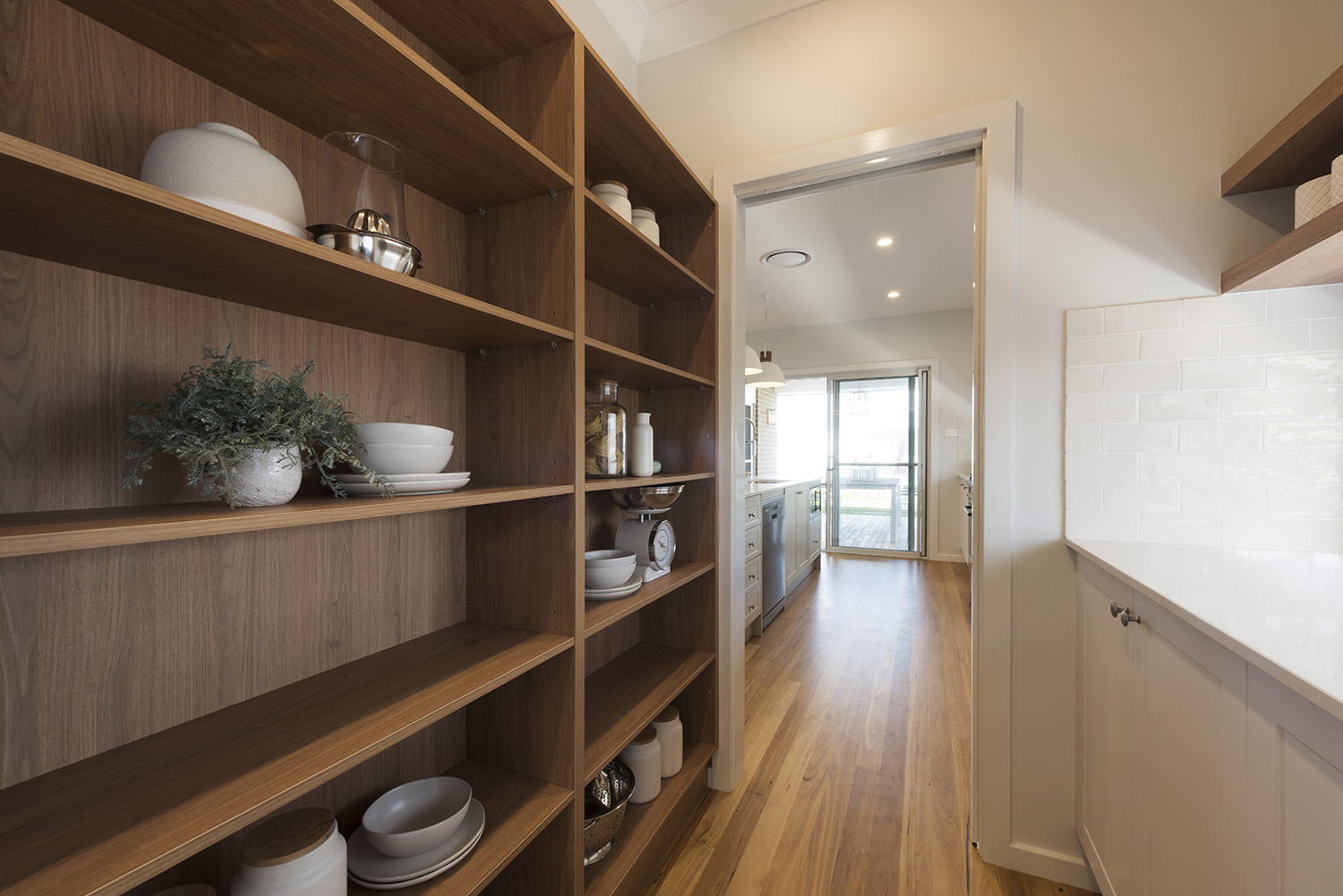 Timber shelves in butlers pantry