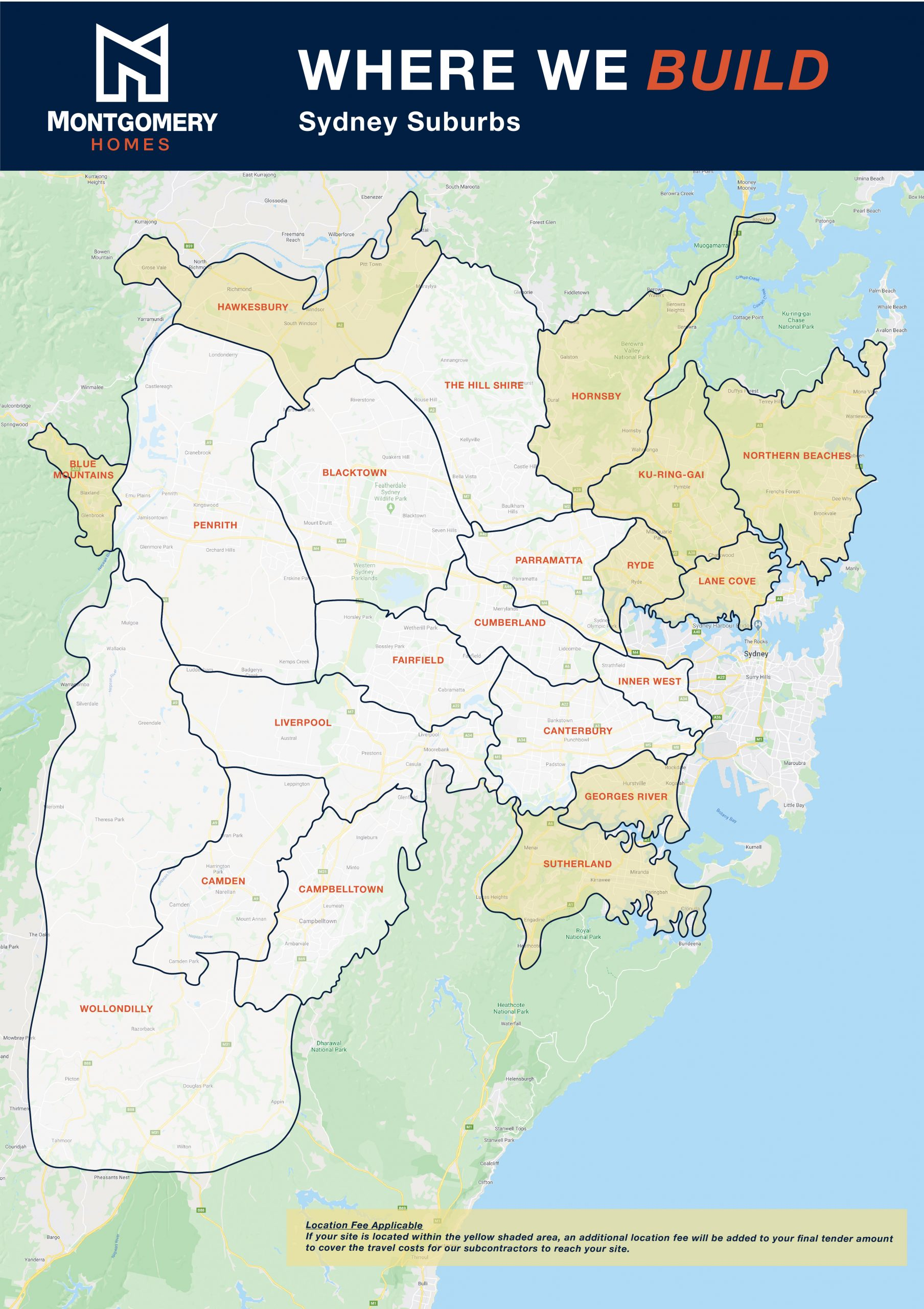 Map of where we build in Sydney