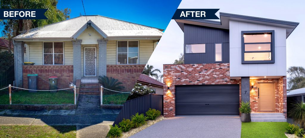 knock down rebuild before and after