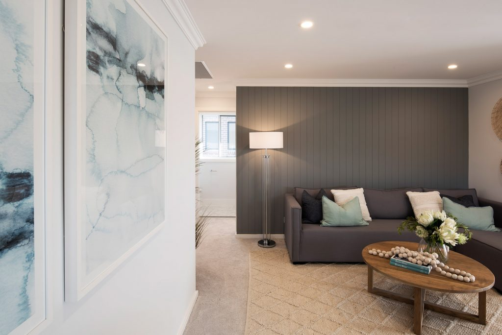 rumpus room with panelled decorative walls